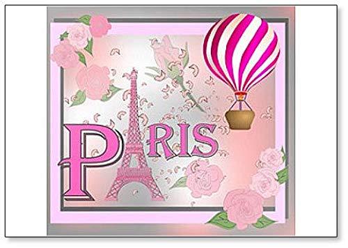 Magnete per frigorifero con sfondo romantico con Torre Eiffel e rose ros