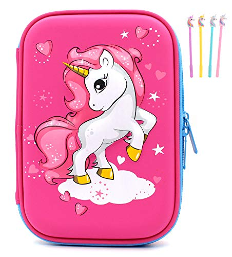Pencil Case EVA Unicorn Pen Pouch Holder Bag Big Capacity Desk Organizer Storage Marker Box Stationary Double Zippers for School Office Students Teen (Red)