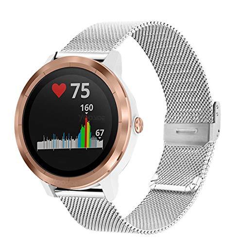Yooside - Correa de metal para Garmin Vivoactive 3/Garmin Venu, correa de acero inoxidable trenzada de malla para Samsung Galaxy Watch 3 41 mm/Active 2 40 mm 44 mm (plata)