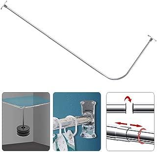 PrettyHome Curved Shower Rod L Shaped Corner Shower Curtain Rods Never Rust Bathroom Curtain Rail 28