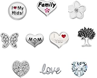 JewelryHouse Family Charms Mom Charms Love Floating Charms for Glass Living Memory Lockets Necklace