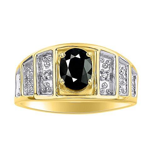RYLOS Anillos para mujer de oro amarillo de 14 quilates, anillo de diamante y ónice, anillo de piedra natal de 7 x 5 mm, joyería de piedras preciosas de color para mujer