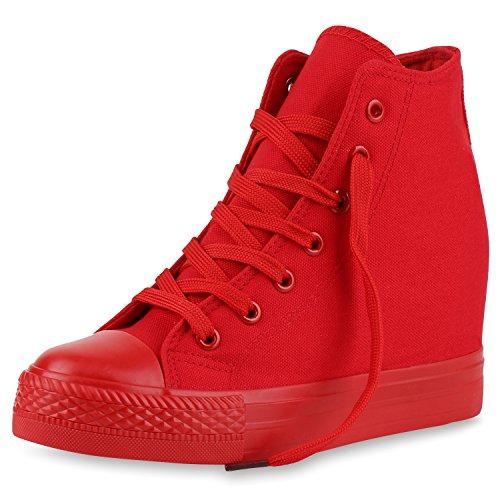 SCARPE VITA Damen Sneakers Keilabsatz Sneaker-Wedges Trendfarben Stoffschuhe 165503 Rot 40