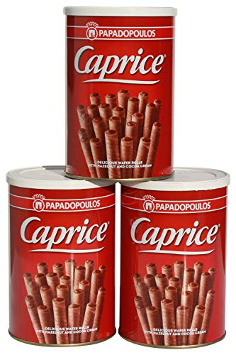 3x 400 gr Caprice griechische Schokorollen Schokoröllchen Schokoladen Rollen aus Griechenland 1,2 kg + Probiersachet 10 ml Olivenöl aus Kreta