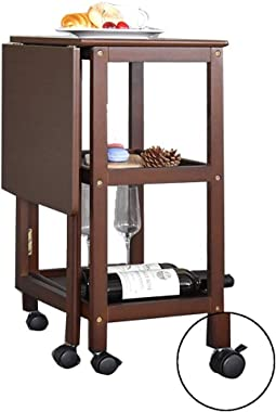 Tea Cart Three-Tier Wine Rack Household Mobile Tea Cart Folding Solid Wood Tea Table Tables (Color : Brown, Size : 70 * 45 *