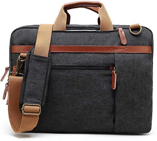 CoolBELL umwandelbar Laptop Tasche Messenger Bag Herren Aktentasche Umhängetasche Multifunktionale Businesstasche Reisen Rucksack passend für 15-15,6 Zoll MacBook Notebook(Leinwand Schwarz)