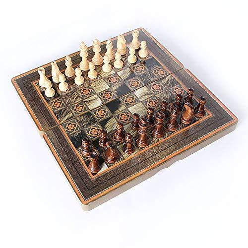 HYXQYYMY Wooden Schachspiel Checkers Backgammon Set 3 In 1 Spielset Für Kinder Und...