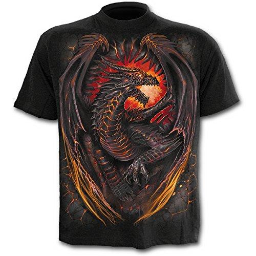 Spiral Dragon Furnace Hombre Camiseta Negro, [Effekte/Besonderheiten] + Regular