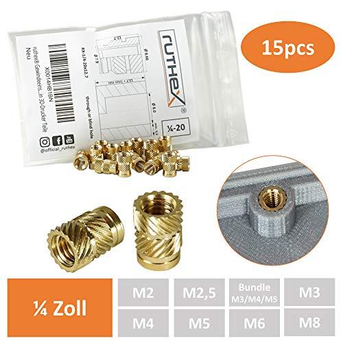 ruthex Gewindeeinsatz 1/4-20x12.7 Zoll-Kameragewinde (15 Stück) | RX-1/4-20x12.7 Messing Gewindebuchsen | Einpressmutter für Kunststoffteile | durch Wärme oder Ultraschall in 3D-Drucker Teile