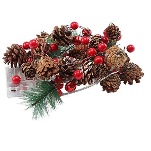 Christmas Garland Battery Operated LED Lighted Mini Pine Cone Garland for Christmas Decor