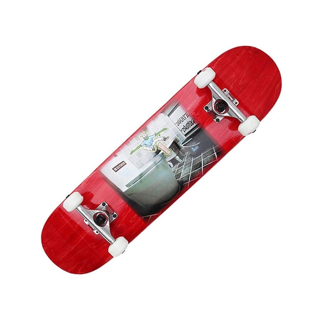 議会フローティング世紀LIUFS-スケートボード 完全なスケートボードプロスケートボード初心者メープルダブルロッカー標準スキルスケートボード子供 - 乱雑なバスルーム