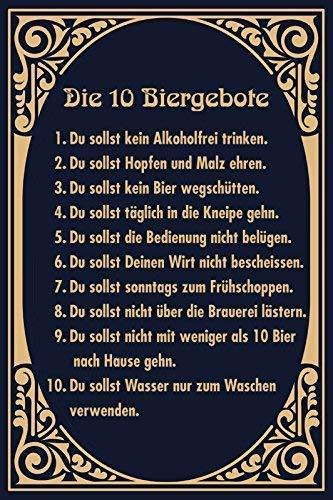 Die 10 Biergebote Bier Gebote Blechschild Metallschild Schild gewölbt Metal Tin Sign 20 x 30 cm