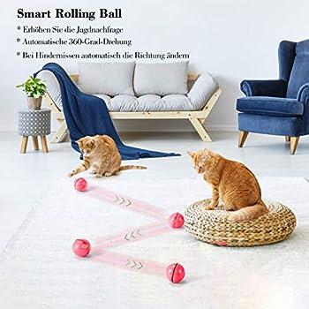 Jouet pour Chat, Balle de Jouets avec lumière LED, Rotation Automatique à 360 Degrés et Chargement USB Jouet Interactif pour Chat, pour Animaux Chien Chatons (Rouge)