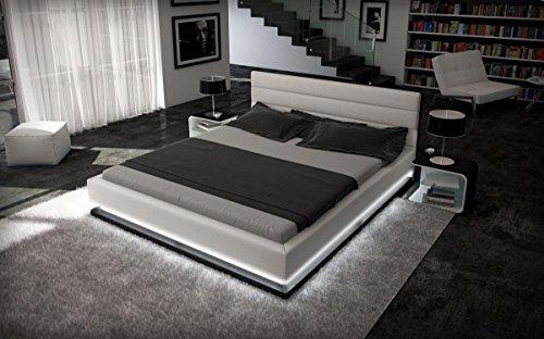 Sofa Dreams compleet bed Moonlight wit-zwart met matras en lattenbodem 140x200, 160x200, 180x200, 200x200,m 200x220cm
