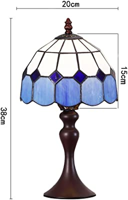 Bieye L10469 8 Inch Mediterranean Tiffany Style Stained Glass Table