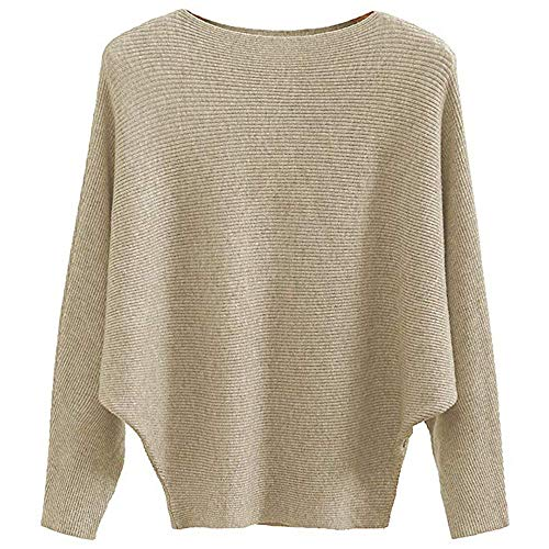 MAKARTHY Women's Batwing Sleeves Knitted Dolman Sweaters Pullovers Tops (Khaki)