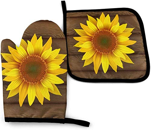 YANGXIN Sunflower On Wooden Kitchen Gloves 2pcs Heat Resistant Oven Mitt and Pot Holder Set for Cooking Baking Grilling and BBQ Decorative, Machine Washable