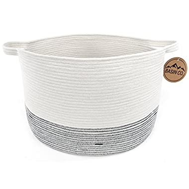 """BasinCo XL Storage Basket for Kids Room 20"""" x 13"""" - Cotton Rope Woven Basket - Organize Baby Toys, Laundry, Blankets - Home Decor Organizer with Handles (20  W x 13  H)"""