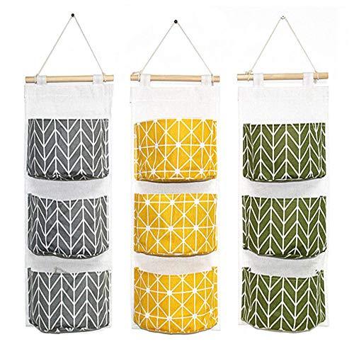 DELSEN 3 Stück wasserfest Aufbewahrungstasche für Schlafzimmer,Badezimmer(Grün + Grau + Gelb)