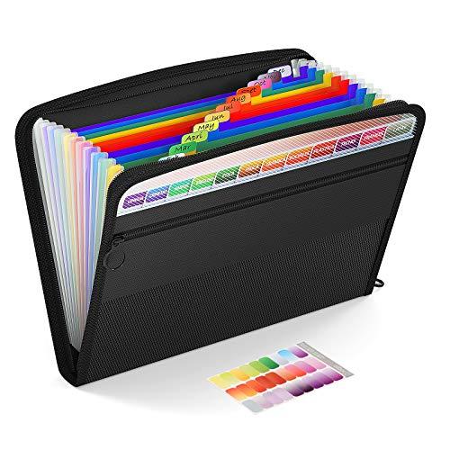 ThinkTex Clasificadores Carpetas, 13 Bolsillos Clasificador Documentos Acordeon, Portátil Organizador de Archivos A4 de Cremallera Etiqueta de Color