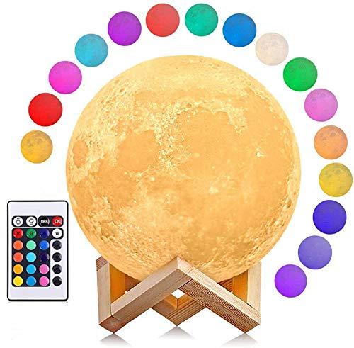 3D Sternenhimmel Mondlampe, AGM Dimmbar LED Mond 16 Farben Remote & Touch Control Nachtlicht Stimmungslicht 15cm 3D Druck Nachtlampe mit Holzhalterung für Kinderzimmer Schlafzimmer Cafe Bar Esszimmer