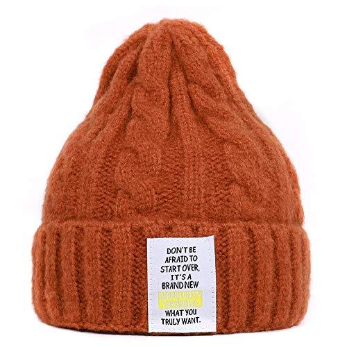 WAZHX Chapeau d hiver pour Les Femmes Chaud en Cachemire Tricoté Bonnets Mode Casquette Souple Marque Dames Bonnet en Laine Souple Coton Chapeaux DarkOrange