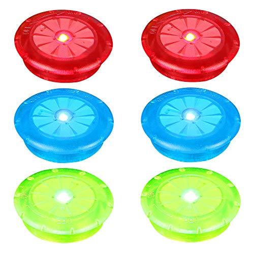 IWILCS 6 luci per raggi impermeabili per bicicletta, luci a LED per ruota della bicicletta, con 3 colori flash, per adulti e bambini, accessorio per uomo bruciato, rosso, blu, verde