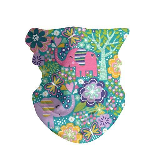 HAOZI 2 piezas 16 en 1 tocado para hombres y mujeres, yoga, deportes, viajes, entrenamiento, diademas anchas, polaina, bandana, pasamontañas, turbante de pelo, bufanda, color Floral con elefantes, tamaño 50 CM x 25 CM