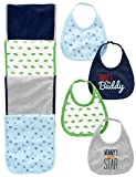 Simple Joys by Carter's Baby Boys' 8-Pack Burp Cloth and Bib Set, Sports/Dino, One Size...