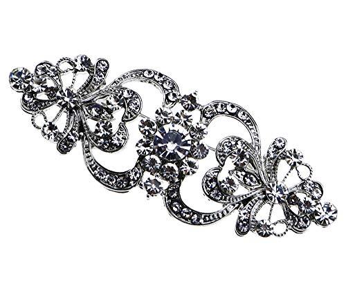 Broche de cristal para mujer con diamantes de imitación, para boda, fiesta, novia, diseño de flores