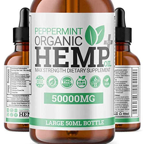Peppermint Hemp Oil Plus+ Drops – High Strength Supplement to Help Support Anxiety, Stress, Improved Sleep & More | 50,000MG MAX Strength 50ML Bottle