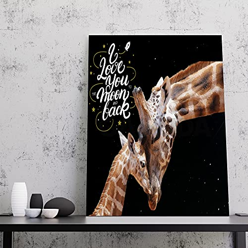 GAMUDA Giraffe I Love You to The Moon and Back Canvas Art Wall Decor .75in Frame - Landscape Wall Art Home Full Size