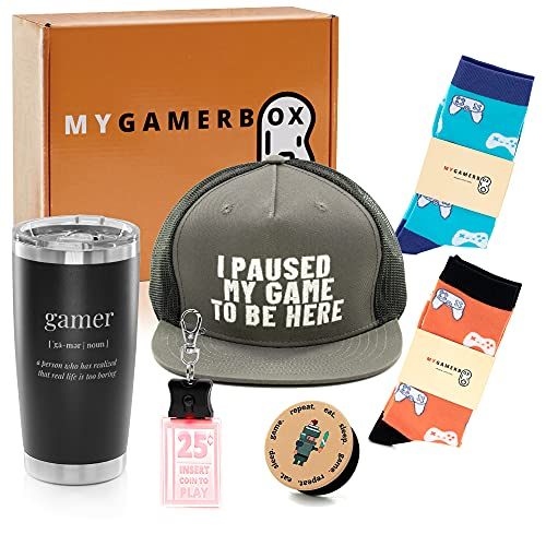 My Gamer Box - Set of Gaming Hat, Insulated Tumbler, 2 Pack of Socks, Cool Pop Socket, Keychain. A Complete Gift for Gamer Boy, Girl, Teen, Friend. Gifts for Gamers Men, Women.