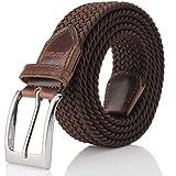 Elastic Braided Belt, Fairwin Enduring Stretch Woven Belt for Men/Women/Junior, Brown, S (for waist 28''-31'')