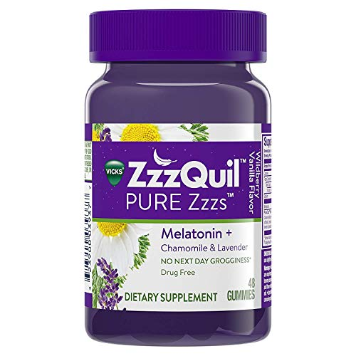 ZzzQuil Pure Zzzs Melatonin Chamomile Lavender Sleep, 48 Gummies (Pack of 2)