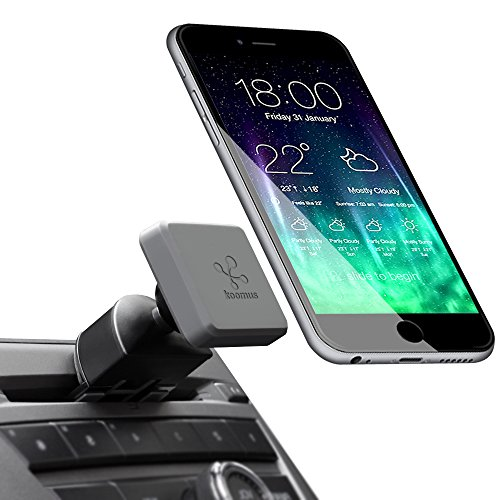 Koomus Pro CD-M Universal CD Slot Magnetic Cradle-less Smartphone Car Mount Holder for all iPhone and Android Devices, Single , Black