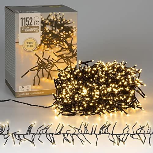 ECD Germany LED Cluster Lichterkette mit 1152 LEDs 8,5m, Warmweiß, Dimmbar mit Timer, IP44, Innen / Außen, Strombetrieben, Weihnachtsdeko Clusterlichterkette Büschellichterkette Weihnachtsbeleuchtung
