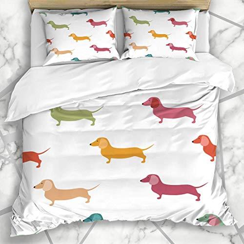 Bettbezug-Sets Hündchen Dackel Süße Dackel Hunde Wildlife Weenie Wurst Muster Hotdog Hot Design Hound Mikrofaser Bettwäsche mit 2 Kissen Shams Pflegeleicht Antiallergisch Weich Glatt