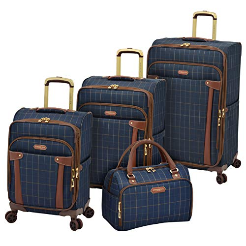 LONDON FOG Brentwood Softside Expandable Luggage with Dual Spinner Wheels, Navy Window Pane, Checked-Medium 25-Inch