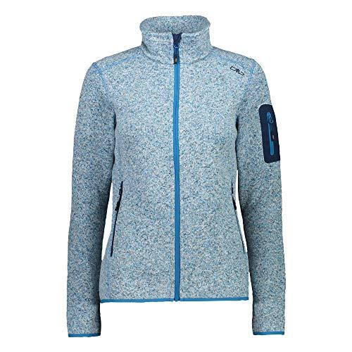 CMP Damen Jacke Knitted Melange Fleece Jacket 3H14746 Ibiza Mel-Blue 38
