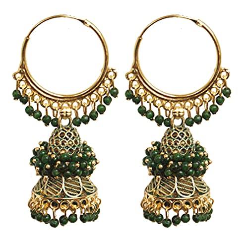 Pahal étnico Bollywood Jaipur Green Cluster Pearl Painted Indian Long Gold Jhumka Pendientes de aro Jhumki Joyería nupcial para mujer