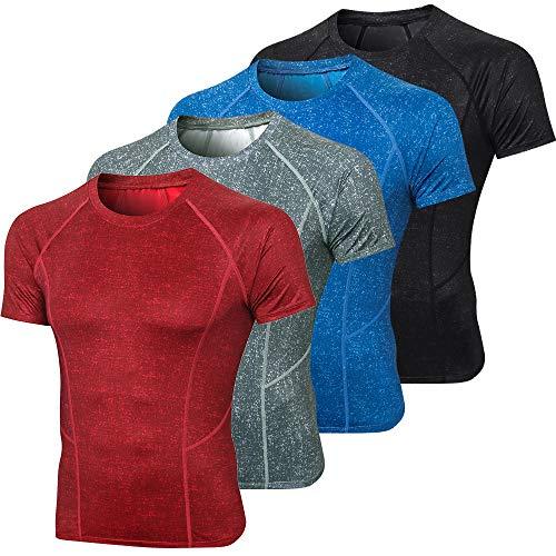 Benkeg - Hombres Camisas Deportivas Camiseta de Manga Corta O Cuello Secado rápido Rendimiento Atlético Gimnasio Correr Entrenamiento Entrenamiento Camisetas Casual Tops