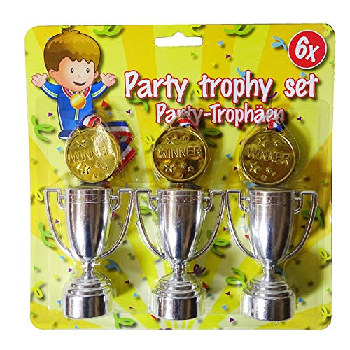 1-A-beker, 6-delig. Trofee set kinderen bokale Medallia verjaardag party tombola cadeautje
