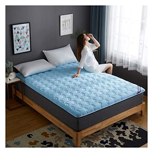 HFMY Tatami Mattress Soft Thick Student Dormitory Folding Mattresses Pad, Traditional Japanese Sleeping Pad Futon Mattress for Home, Floor, Non-slip Bed Mattress,Blue,150x190cm