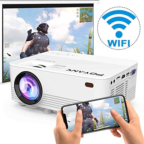 [2020 Upgrade WiFi Projector] POYANK 5500Lux LED WiFi Projector, Full HD 1080P Supported Mini Projector, [Native 720P] Compatible with Smartphones, PS4, TV Box, HDMI, USB, AV for Home Entertainment