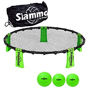 GoSports Slammo Game Set (Includes 3 Balls, Carrying Case and Rules) - Outdoor Lawn, Beach & Tailgating Roundnet Game for Kids, Teens & Adults