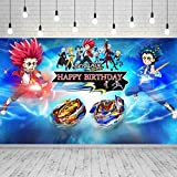 Beyblade Burst Party Supplies Backdrop Boys Birthday Party Cake Table Decoration 5x3ft Battle Spinners Theme Video Game Party Decoration Photography Background Photo Studio Props GM-16