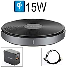 Techsmarter 15W Fast Charging Wireless Charger Pad, Qi Certified. Compatible with Apple iPhone 8,X,XR,XS,11 Samsung Galaxy S7,S8,S9,S10, Note 8,9,10, LG ThinQ V30, V35, V40, G6, G7,G8