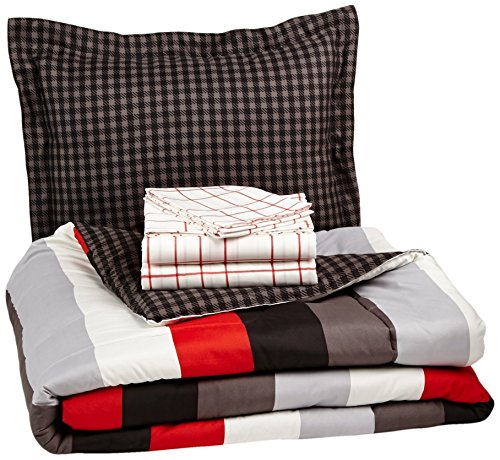AmazonBasics 5-Piece Light-Weight Microfiber Bed-In-A-Bag Comforter Bedding Set - Twin or Twin XL, Red Simple Stripe