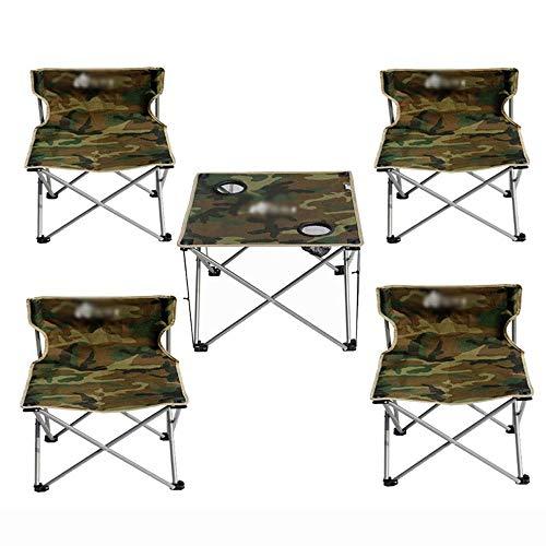 YLCJ Campingtafel met vier klapstoelen, met rugleuning, visstoel, drankhouder, met draagtas, licht, belastbaarheid 150 kg, camping/tuin/toerisme Large Camuffare